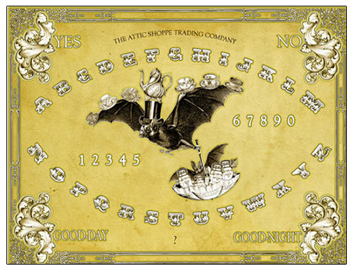 The Attic Shoppe Trading Co. - Halloween Decorations -  The Tea Bats Spirit Board